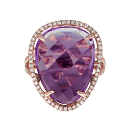Amethyst and Diamond Ring in 14K Rose Gold-2